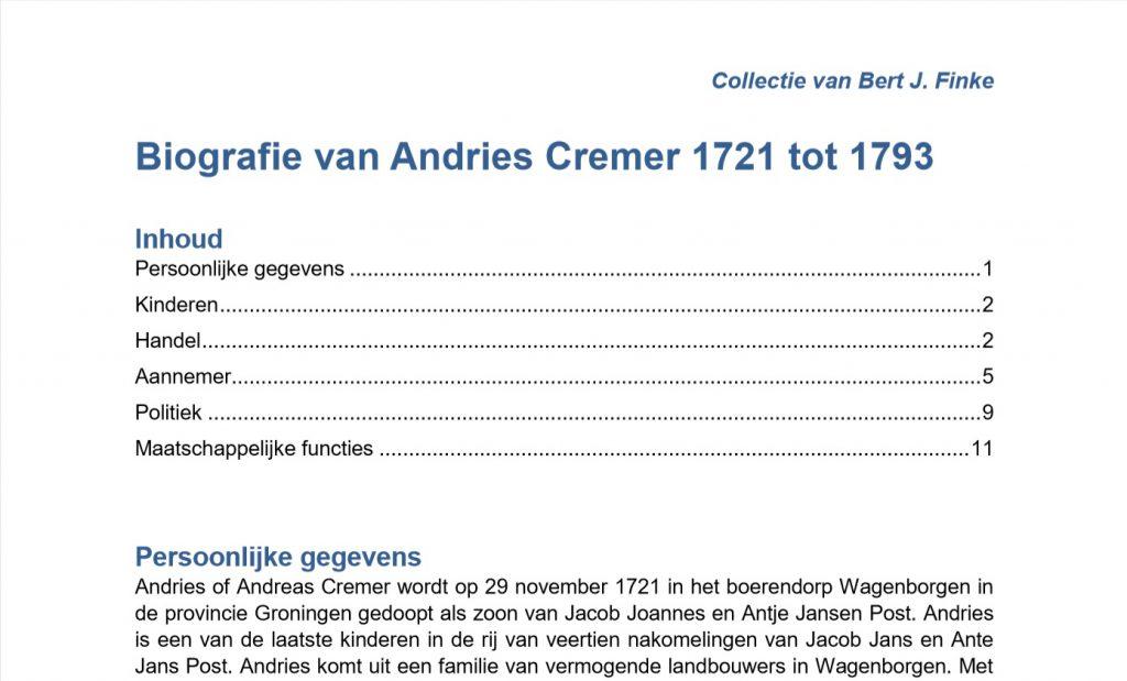biografie Andries Cremer